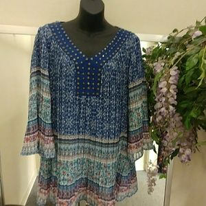 Woman Within Boho Studded V Neck Tunic